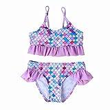 Baby/Toddler Girls Rash Guard Mermaid Swimsuit Sleeveless Ruffle One Piece Swimwear UPF 50+ Sun Protection (Purple, 4-5 T)
