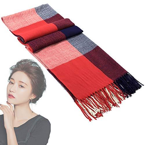 Frauen weiches Tuch arbeitet warme Wolle-Verpackungs-Schal mit Schottenkaro Winter-Stola britischen Karierten Schal Troddelschal Rot/Blau 1PC