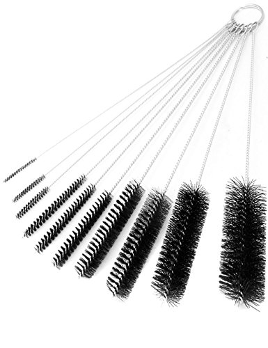 HomeTools.eu®, set di spazzole per bottiglie, spazzole per la pulizia di bottiglie, gioielli, tubi, cannucce, ugelli, modellismo, set di spazzole da 2 mm a 25 mm, set da 10 pezzi