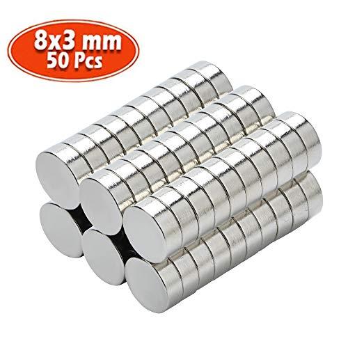 Yizhet 50 Stück Neodym Magnet Ultra-stark Magnet Supermagnete Haushaltsmagnete 8x3 mm Mini Magnet für Magnettafel, Whiteboard, Tafel, Pinnwand, Kühlschrank u.v.m. (8 x 3 mm)