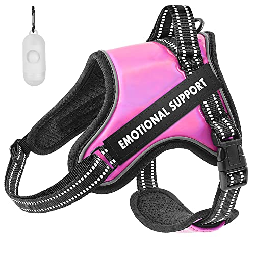 Emotional Support Dog Vest Harness, No Pull Dog Vest Harness with Strong Handle Adjustable Reflective Dog Vest for Outdoor Activities Easy On and Off Dog Vest Harness for Small to Large Dogs