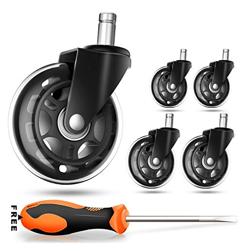 COOWOO Office Chair Caster Wheels (Set of 5) - Safe for All Floors Including Hardwood- Rollerblade Style w/ Universal Fit-Free Screwdriver - 650 lbs Total Capacity