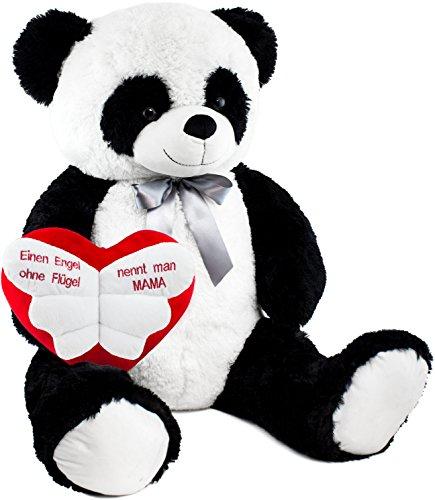 Brubaker XXL Panda 100 cm groß mit 'Einen Engel ohne Flügel nennt Man Mama' Herz Stofftier Plüschtier Kuscheltier Teddybär