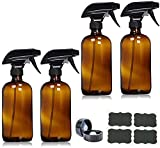 kungfu Mall 500ml (16oz) Amber Glass Spray Bottles with Trigger Sprayers, Caps and Lables - Glass Bottle for Essential Oils, Cleaning, Room Spritzers or Aromatherapy, Pack of 4