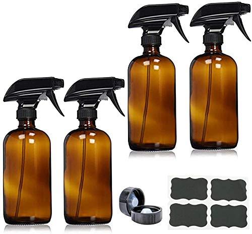 kungfu Mall Lot de 4 flacons vaporisateurs en verre ambré de 500 ml avec pulvérisateurs,...