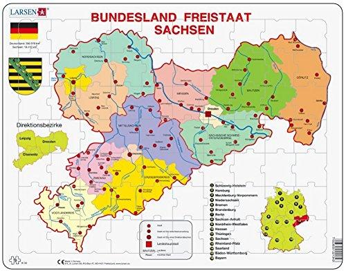 Puzzle 70 Teile - Rahmenpuzzle - Bundesland: Freistaat Sachsen