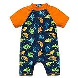 BONVERANO Baby Junge EIN stück Kurzärmel-Kleidung UV-Schutz 50+ Badeanzug MIT Einem Reißverschluss(Bunte-Der hai,24-36M)