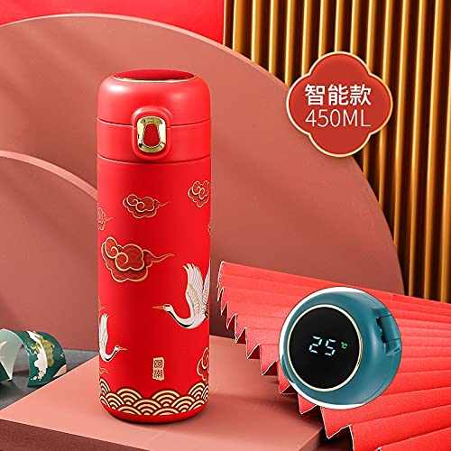 XKMY Termo caliente y frío Botella inteligente termo taza de temperatura exhibición de calor termo termo termo termo viaje sopa café taza termo (color: rojo inteligente)