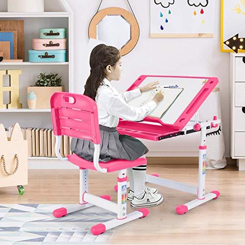 Kids Desk and Chair Set, Height Adjustable Ergonomic Student Study Desk and Chair Set with Embedded Pull-Out Drawer, 0°~ 30° Adjustable Tilted Desktop (Pink)