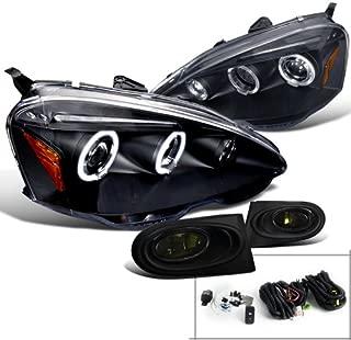 Spec-D Tuning 2LFLHP-RSX02JG-TM Fog Headlight (Acura RSX Black Halo LED Projector Smoke)