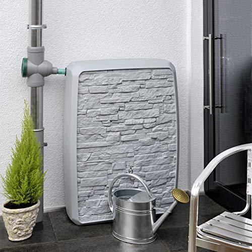 Regentonne eckig Regenwassertank Multitank 250 Liter grau aus UV- und witterungsbeständigem Material. Regenfass bzw. Regenwassertonne mit zwei unterschiedlichen Seite und hochwertigen Anschlüssen