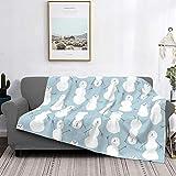 Manta de forro polar ultra suave para decoración del hogar, manta de franela cálida antipilling para sofá, cama, campamento de 60 x 50 pulgadas, muñecos de nieve