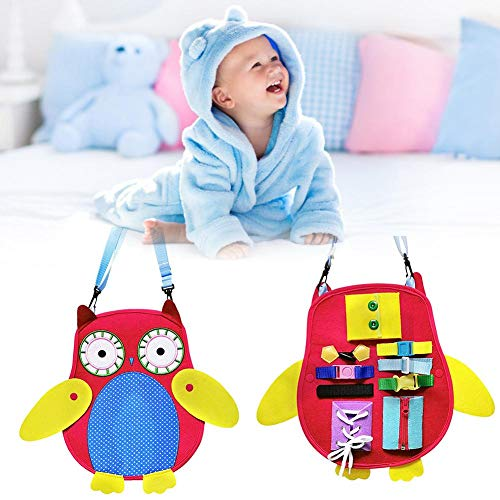 Newest Toddlers Busy Board,Owl Style Montessori Basic Skills Toys for Toddlers - for Fine Motor Skills & Learn to Educational Learning Toys,