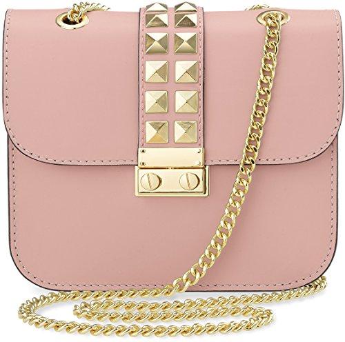 kleine originelle Damentasche Clutch – Tasche mit Nieten und Kettenriemen (puderrosa)