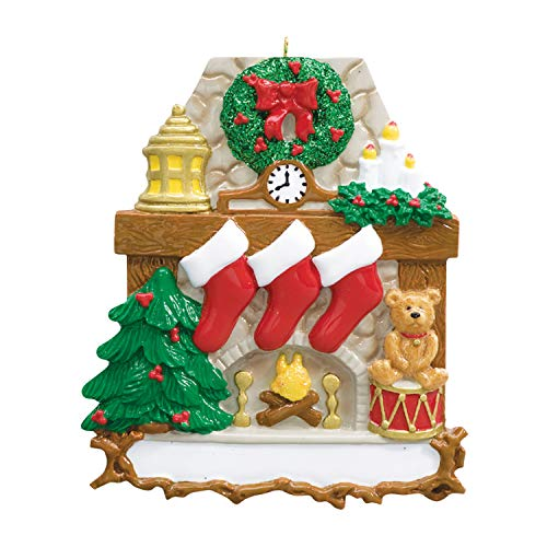 Personalized Fireplace Stockings Family of 3 Christmas Tree Ornament 2020 - Wood Stone Chimney Wreath Red Trumpet Teddy Child Friend Tradition Gift Year Cozy Mother Father Kid - Free Customization