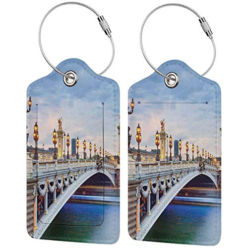 WINCAN Etiquetas para Equipaje,París El Puente Alejandro III Ubicado En París Francia...