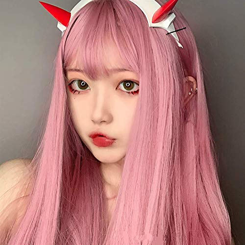 L&B-MR Pelucas Anime Cosplay Cero Dos Pelucas 002 Pelucas Rosadas Rectas con Flequillo Pelo sintético Resistente al Calor para Darling en la Parte Franxx (100 cm)