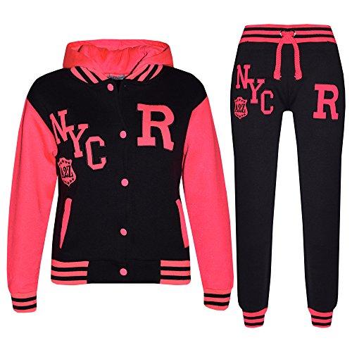 A2Z 4 Kids® Kinder Mädchen Jungen Baseball Trainingsanzug NYC FOX Jacke & Hose - T.S Baseball NYC Black & Neon Pink 11-12