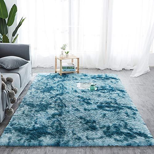 Hochflor Teppich wohnzimmerteppich Langflor - Teppiche für Wohnzimmer flauschig Shaggy Schlafzimmer Bettvorleger Outdoor Carpet (200 x 300 cm, Türkis mit Muster)