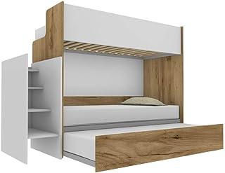 Woody Lit superposé fonctionnel design avec troisième lit amovible et relevable 80 x 190 cm, échelle de rangement incluse,...