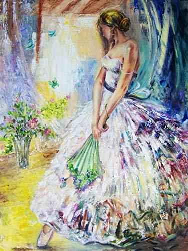 Pintura de diamante 5D violín mujer taladro completo bordado de diamantes retrato abstracto diamantes de imitación mosaico Hobby Art A2 30x40cm