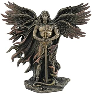 Six Winged Guardian Angel with Sword and Serpent 11 Inch Colored Cold Cast Bronze Statue