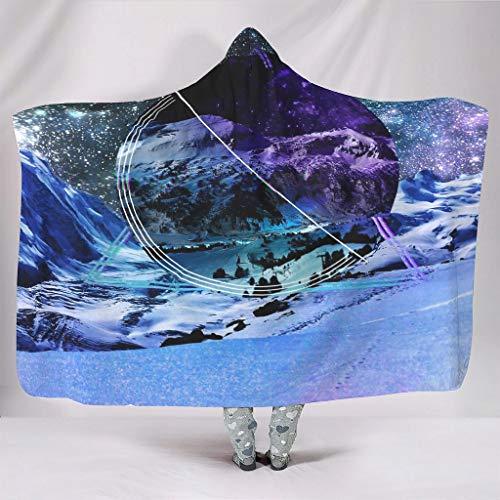 Knuffelig met capuchon deken abstract sneeuwberg geometrie magisch sneeuwbos sterren mist Galaxy hemel nacht landschap druk sherpa fleece etnisch capuchon shirt spelen