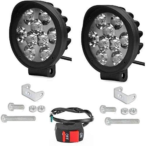 9 LED Round Cap Fog Light Pair with Normal Switch for Bikes and Cars.(Light Power: 27W)(Package Includes: 2 Unit Light & 1 Unit Switch)