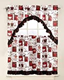 LinenTopia 3pc Kitchen-Set Curtain Set with 2 Tiers 36' L x 27' W (Total Width of 54') Plus 1 Tailored Valance 15' L x 54' W, Coffee White Design Décor Linen (Kitchen, Coffee White)