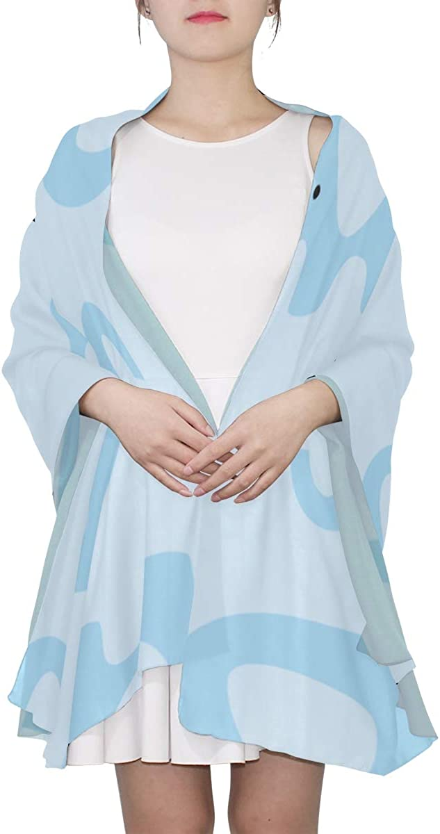 Designer Scarf Blue Elephant Long Nose Colorful Scarf For Women Head Scarfs For Women Lightweight Print Scarves Lightweight Fashion Scarf Evening Shawl Wrap
