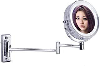 Makeup Mirror Wall Mount 5X Magnifier LED Light Vanity Mirror for Bathroom Double Mirror,6 Inch Two Sided, 360° Rotatable, Extendable Arm for Bedroom 5CD1 (Color : Metallic, Size : 6 inches)