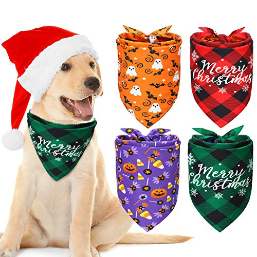 SCENEREAL Flower Element Dog Bandana 4 Pack Puppies Soft and Breathable Dog Triangle Scarf Adjustable Washable Bibs for Small Medium Large Dogs