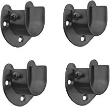 FYTRONDY Black Edition Stainless Steel Wardrobe Closet Rod Bracket, U-Shaped Open Type Socket Bracket, Shower Curtain Rod Pole End Supports Sockets Flange (1-1/4 INCH, 4 Pack)