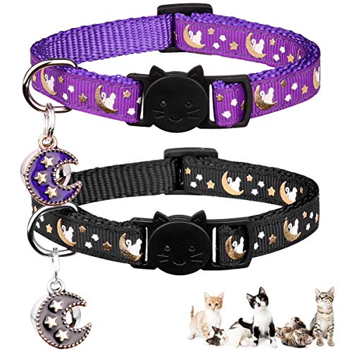 Charming 2PCS Breakaway Kitten Cat Collars with Bell Moons Stars Adjustable with Pendant Glow in The Dark (Purple & Black)