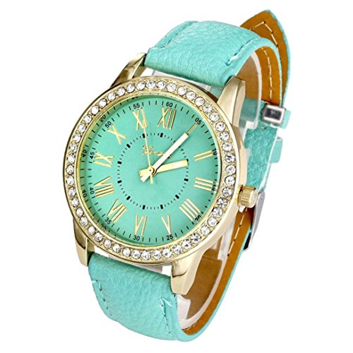 Pocciol Watch,Rhinestone Quartz Wrist Watch Vogue Women Ladies Fashion Crystal Dial Bracelet Watches (Green)