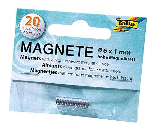 folia 2520 - Mini Magnete mit hoher Magnetkraft, 20 Stück, ca. 6 x 1 mm