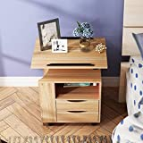 sogesfurniture Height Adjustable Nightstand Movable Overbed Bedside Table Bedroom Side Table Stackable End Table Cabinet for Storage,Oak BHUS-CT1-OK
