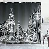 Ambesonne Black and White Shower Curtain, Madrid City at Nighttime in Spain Main Street Architecture, Cloth Fabric Bathroom Decor Set with Hooks, 70' Long, Grey
