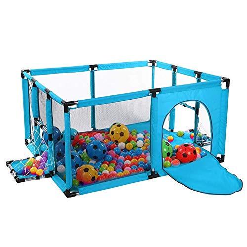 J-Bettschienen Sicherheitsgriffe Spielen Hof Laufstall Blau Playpen mit Matratze, Sicherheitskleinkinder Raumteiler mit Fußballtor, Folding Anti-Kollisions-Baby (Color : Blue, Size : 100×120×62cm)