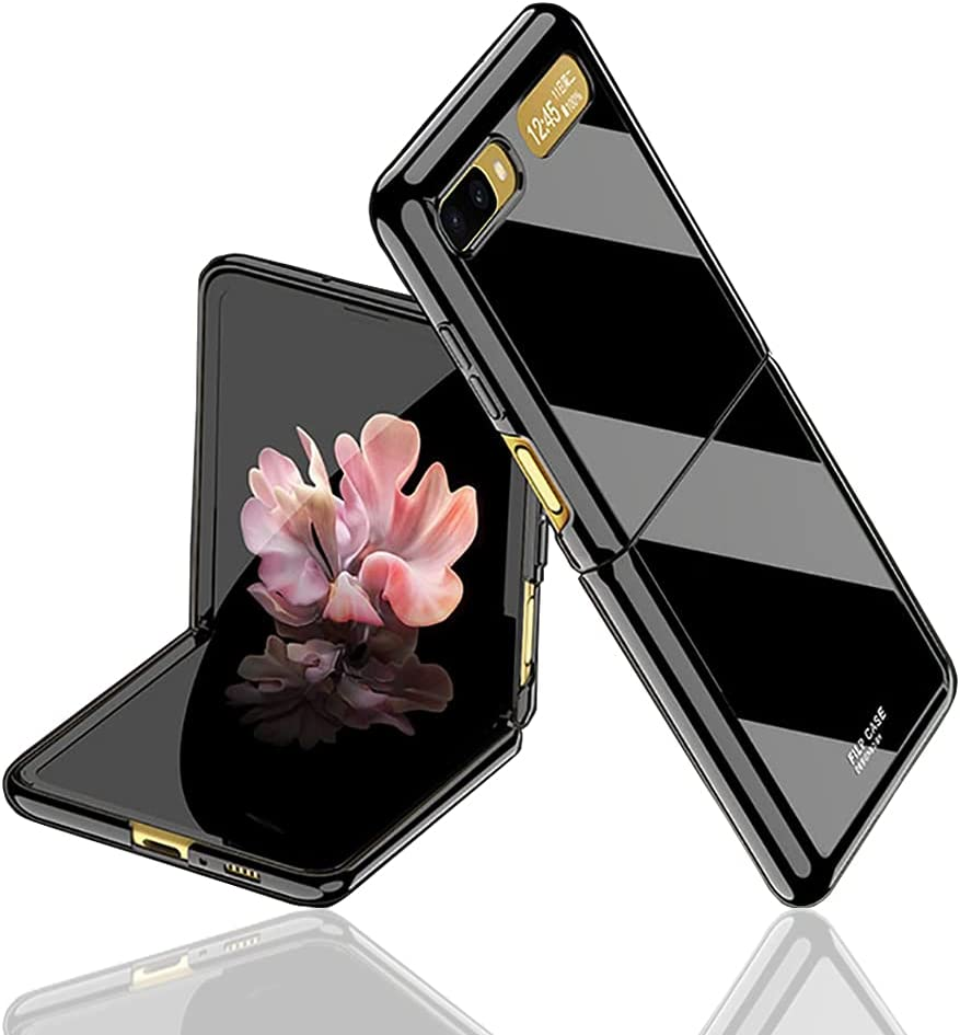 for Samsung Galaxy Z flip(5G Compatible) Case UV Bright Luxury Painted Full Protection Anti-Knock Cover Case (Black)【Not for Z Flip 3】