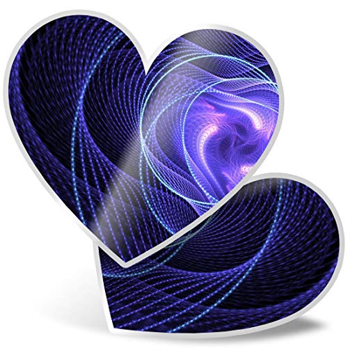 Awesome 2 x Heart Stickers 7.5 cm - Neon Purple Vortex Infinite Universe Fun Decals for Laptops,Tablets,Luggage,Scrap Booking,Fridges,Cool Gift #16424