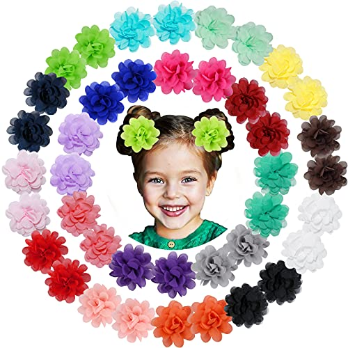 WillingTee 40pcs 2' Chiffon Flower Hair Ties Elastic Ponytail Holders Hair Ties Hair Accessories for Baby Girls Infants Toddlers Kids 20 Colors in Pairs