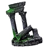 Baoblaze Acuario Artificial Columna de Pilar de Piedra Colapsada Estatua Pecera Adornos Decorativos - Negro, Individual