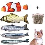Felly Juguetes del Catnip,Juguetes Interactivo para Gatos con Hierba gatera, Almohada de Gato Catnip Fish Toy Chew del Gato Juguete Mascotas para Gatos, Perro