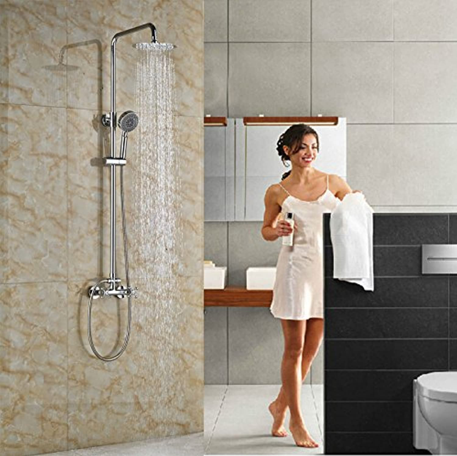 Contemporary Wall Mounted Single Lever with Hand Shower Brass Chrome Finish Tub Shower Set,Chocolate