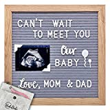 Felt Letter Board with Letters and Numbers - 10x10 Message Board with Stand - Changeable Letterboard - Letter Sign with Photo Holders - Cursive Words and Emoji Set - Felt Pouch with Zipper for Letters