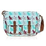 Miss Lulu Women's Oilcloth Satchel Bag Medium Butterfly Pink