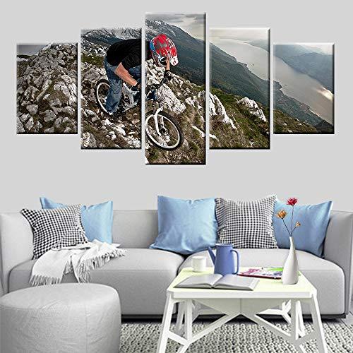 DGGDVP Extremsport Mountainbike Cliff Scene afbeelding poster 5 panelen muurkunstenaar Resident Decoratie afbeelding 30x40cmx2 30x60cmx2 30x80cmx1 Met frame.
