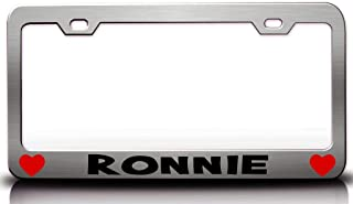 Custom Brother - Ronnie with Hearts Steel Metal License Plate Frame Ch