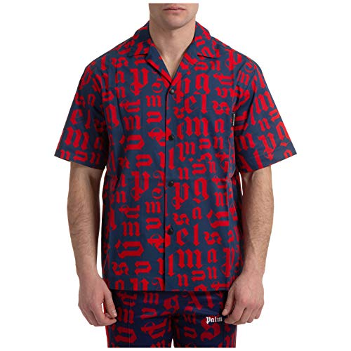 Palm Angels Hombre Camisa de Manga Corta Monogram Navy Blue - Red 46 EU